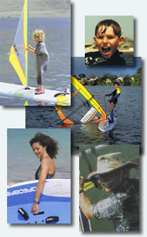people learning windsurfing
